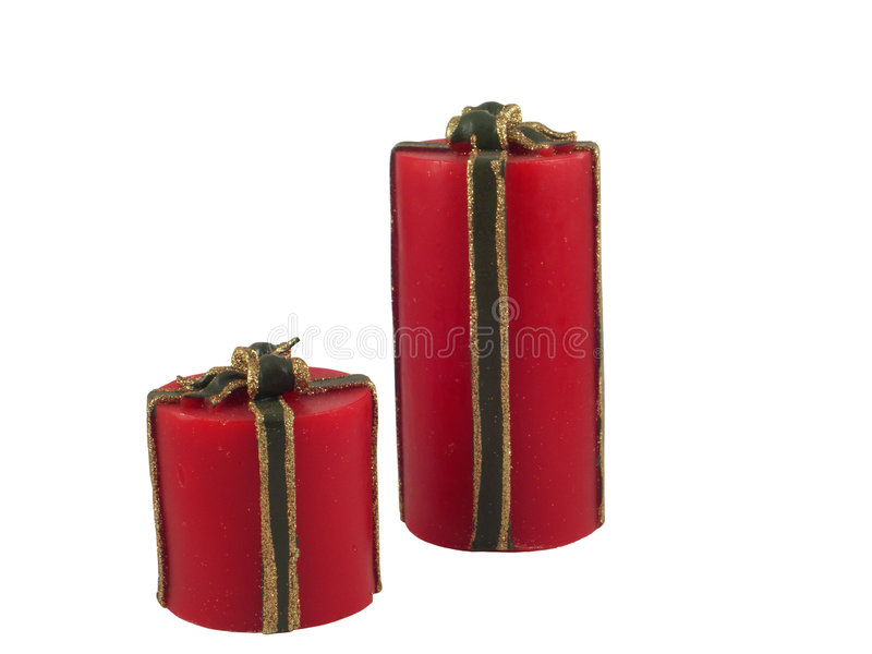 Isolated christmas candles (clipping path) stock images