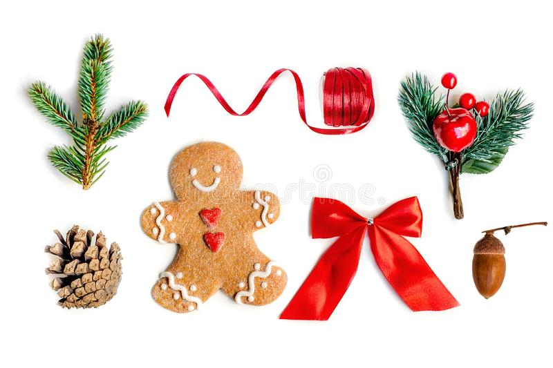 Isolated Christmas decorations, flat lay. Christmas composition stock images