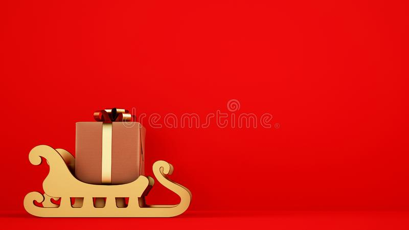Isolated Christmas gift package on golden sleigh with red background. Xmas gift package on a golden sledge ready for delivery royalty free stock images