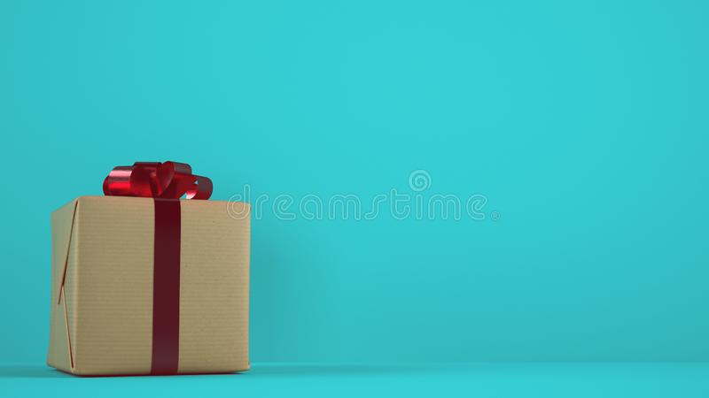 Isolated Christmas gift package with red ribbon on cyan background. Xmas gift package on a cyan background stock photography
