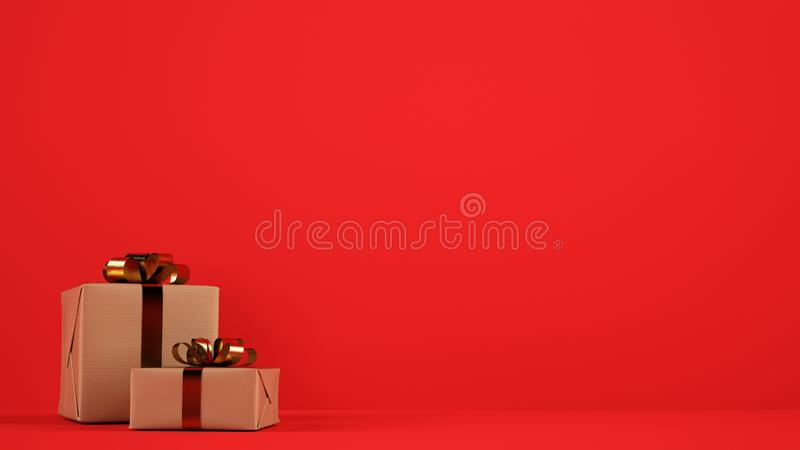 Isolated Christmas gift packages with golden ribbons on red background. Xmas gift packages on a red background royalty free stock photos
