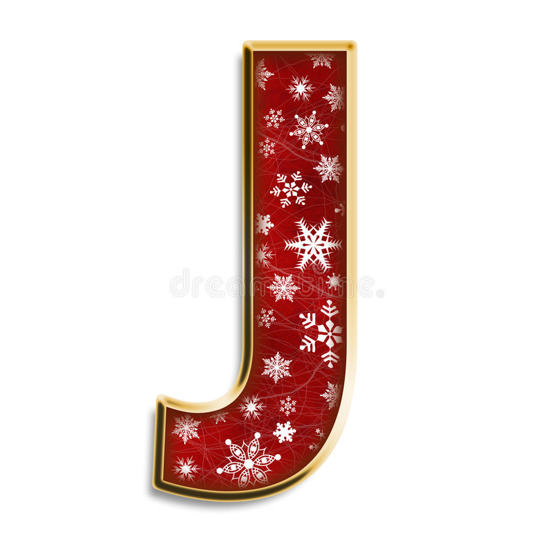 Isolated Christmas letter J in red