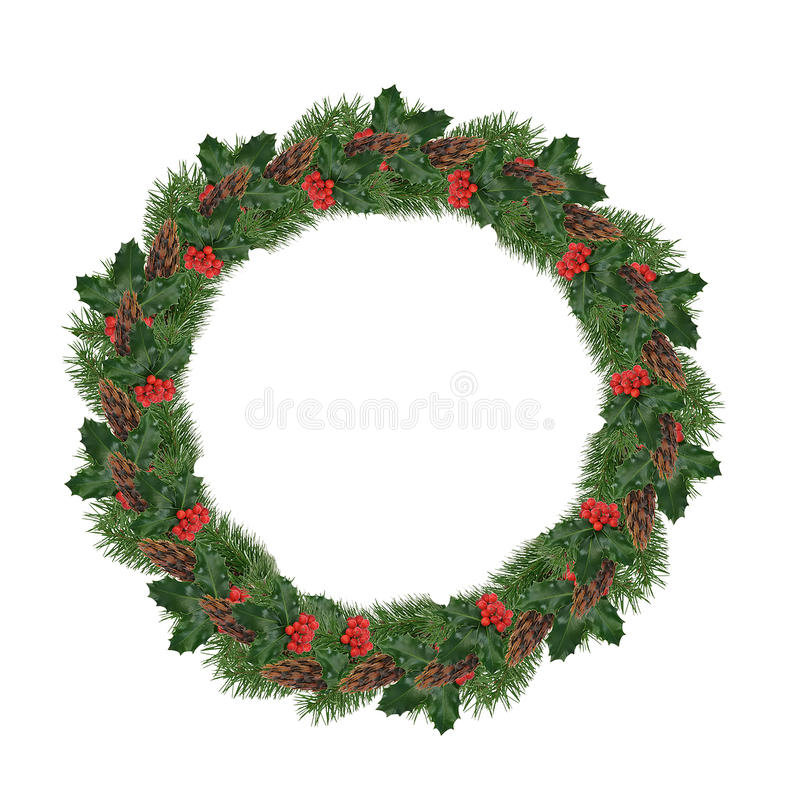 Isolated Christmas Wreath. Isolated Holly Berry and Pine Cone Christmas Wreath stock photography