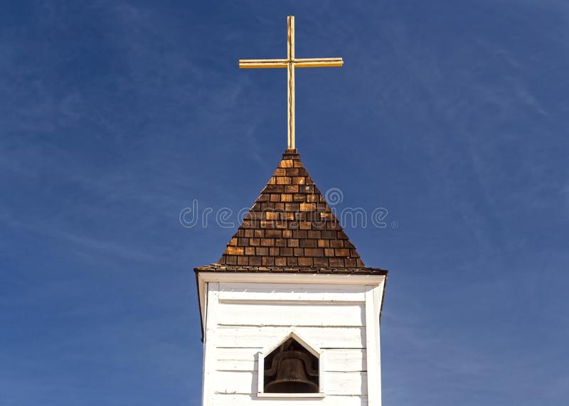 Isolated Church Tower and Cross Lost Dutchman State Park Arizona stock photography