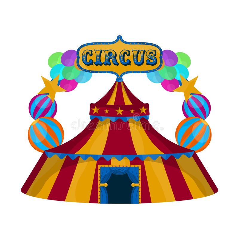Isolated circus tent. With balloons and text - Vector illustration vector illustration