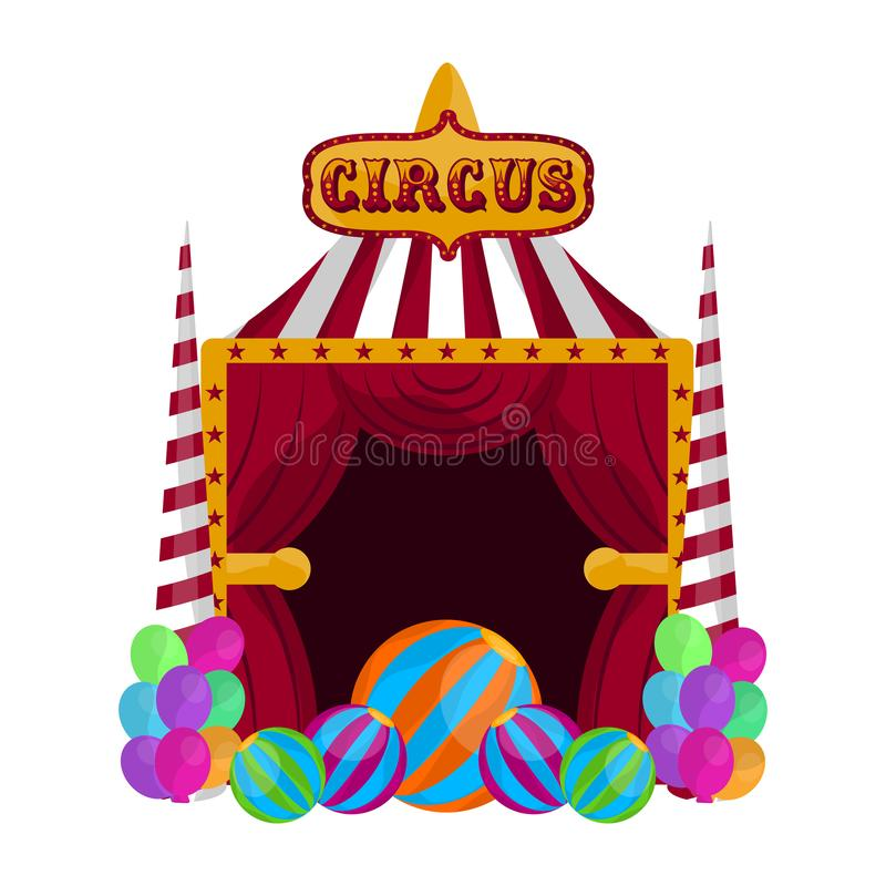 Isolated circus theater. With balloons and text - Vector illustration royalty free illustration