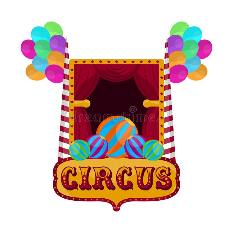 Isolated circus theater. With balloons and text - Vector illustration vector illustration