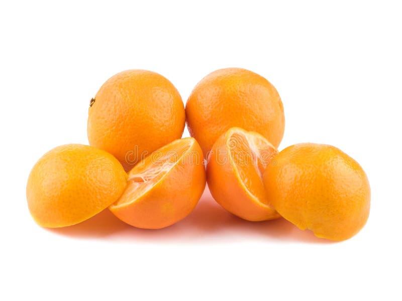 Isolated citrus collection. Whole tangerines or mandarin orange fruits and peeled segments isolated on white background royalty free stock photo