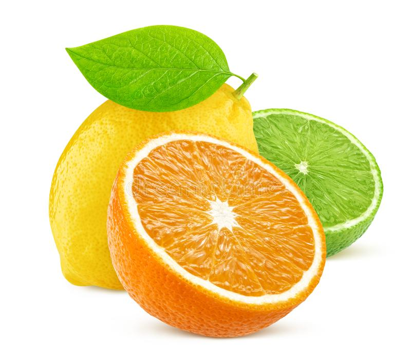 Isolated citrus fruits. Lemon, lime, and orange isolated on white background. With clipping path stock images