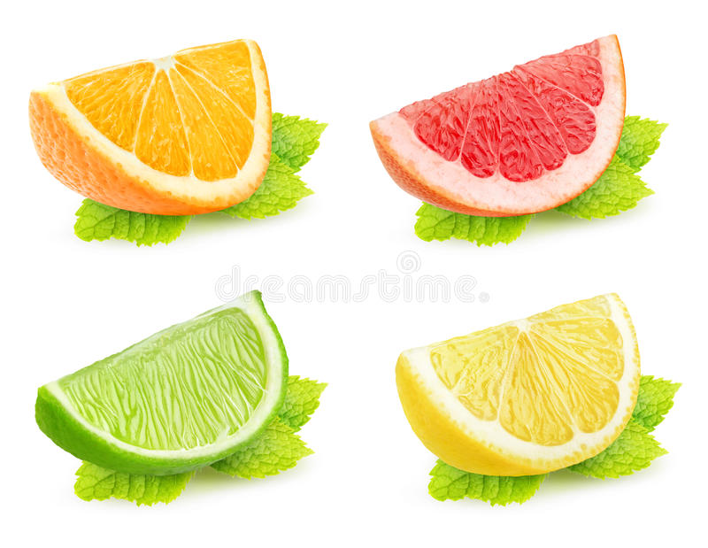 Isolated citrus slices with mint. Collection of isolated citrus slices with mint. Pieces of orange, grapefruit, lime and lemon with mint leaf isolated on white stock photos