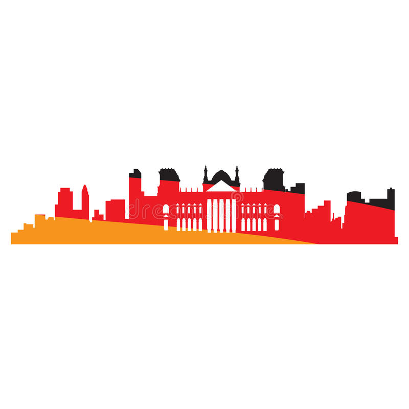 Isolated cityscape of Berlin royalty free illustration