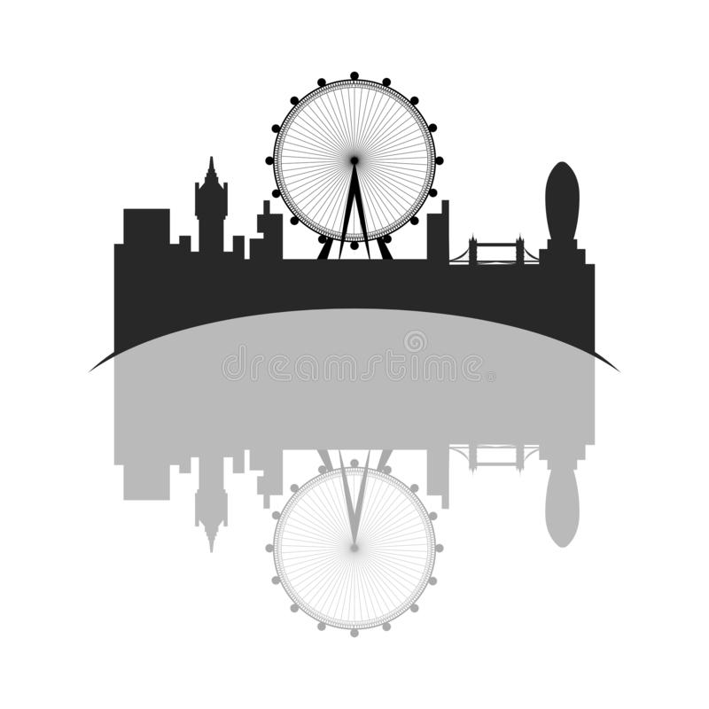 Isolated cityscape of London with the London eye. Vector illustration design stock illustration