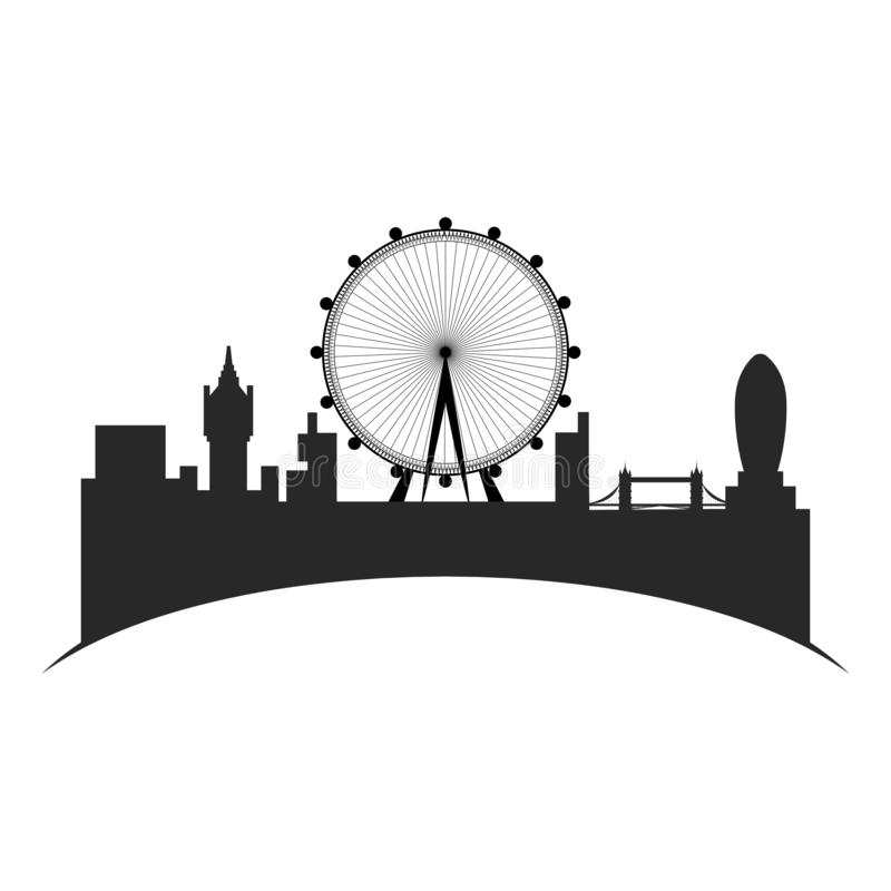 Isolated cityscape of London with the London eye. Vector illustration design royalty free illustration