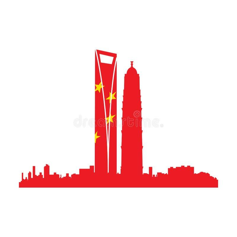Isolated cityscape of Shanghai stock illustration