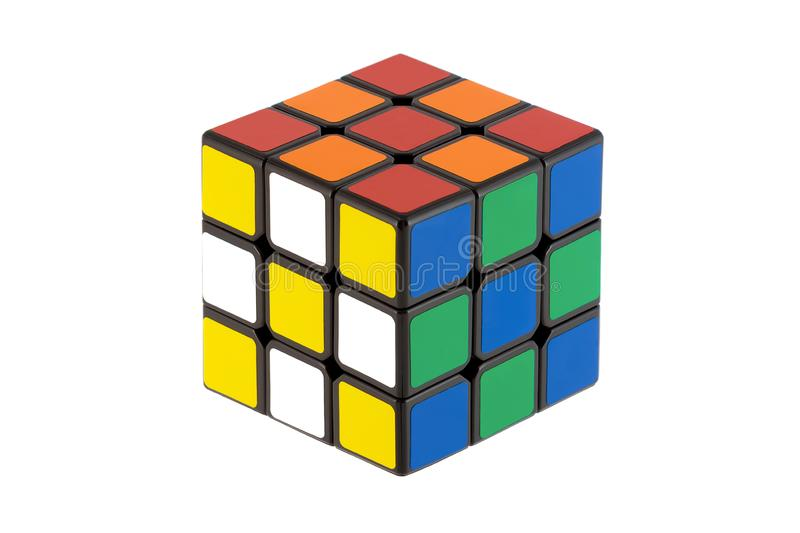 Isolated classic Rubik Cubes royalty free stock photo