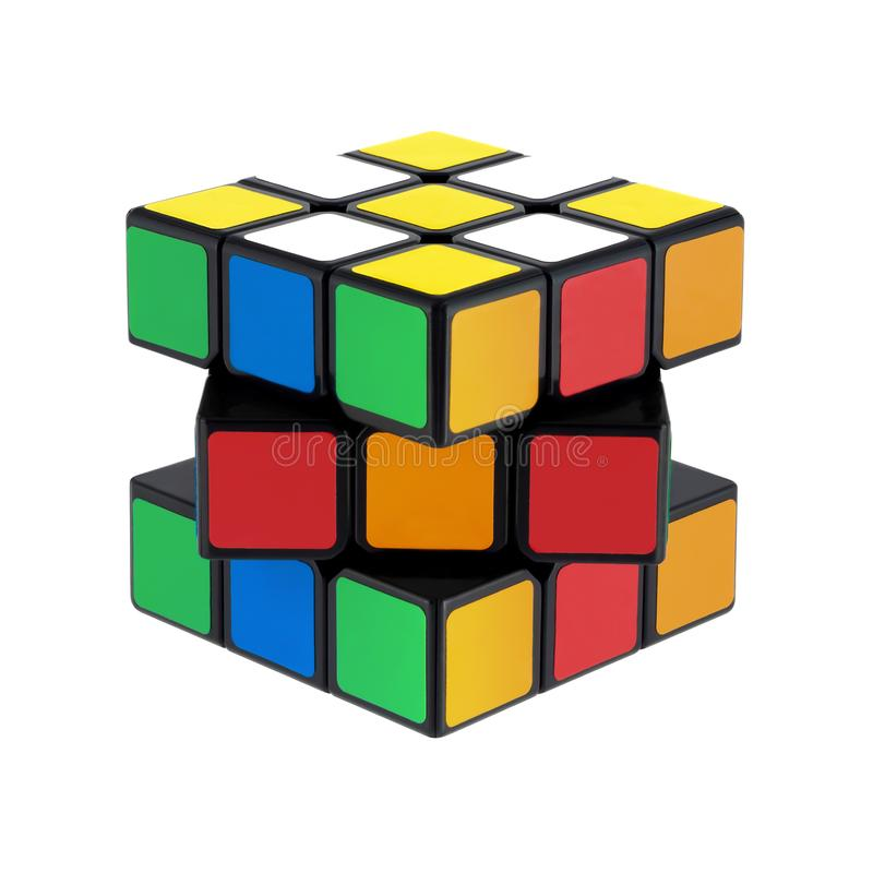 Isolated classic Rubik`s Cubes royalty free stock photography