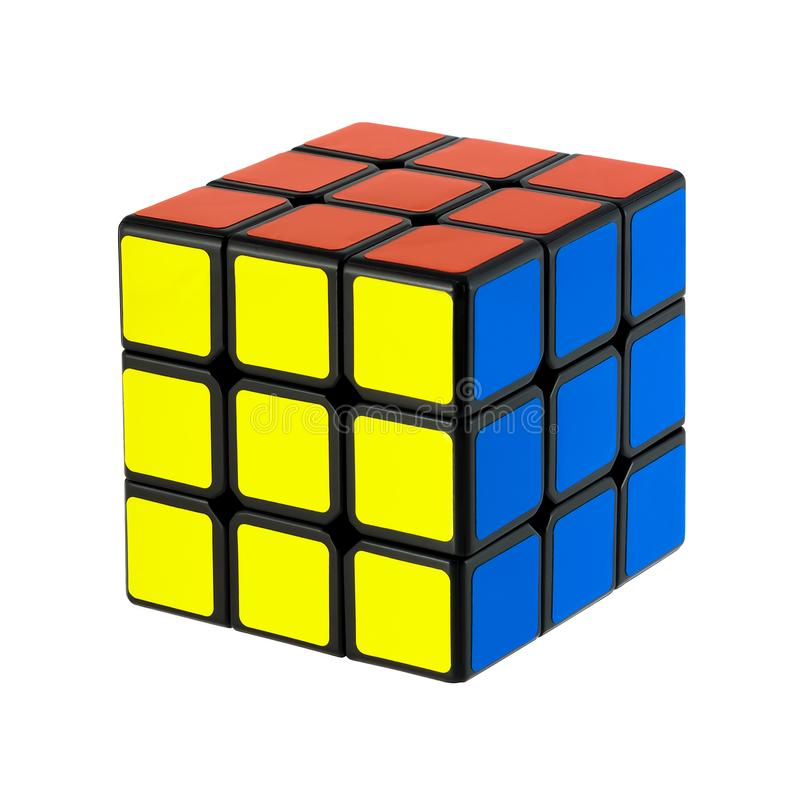 Isolated classic Rubik`s Cubes stock photo