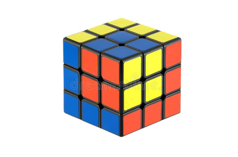 Isolated classic Rubiks Cubes stock photos