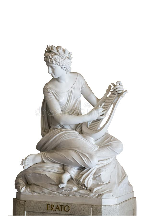 Sculpture of the muse Erato. Isolated classical sculpture of the muse Erato playing music royalty free stock photos