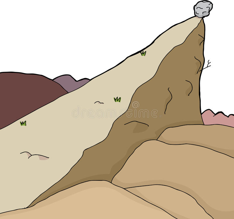 Isolated Cliff with Boulder. Isolated desert scene with large boulder on edge of cliff royalty free illustration