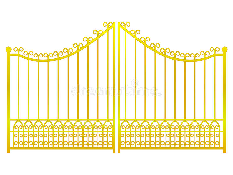 Isolated closed golden gate fence on white vector vector illustration