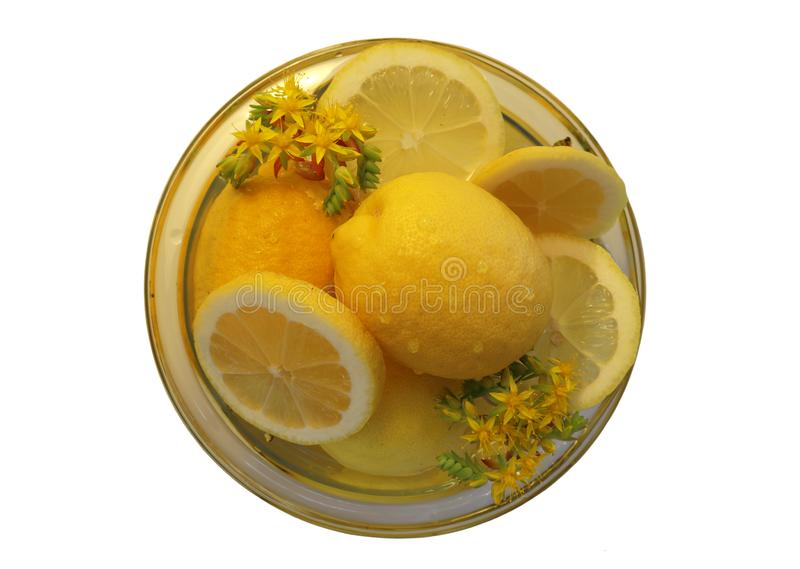Isolated, closeup Photo of a bowl with sliced and whole lemon royalty free stock photography