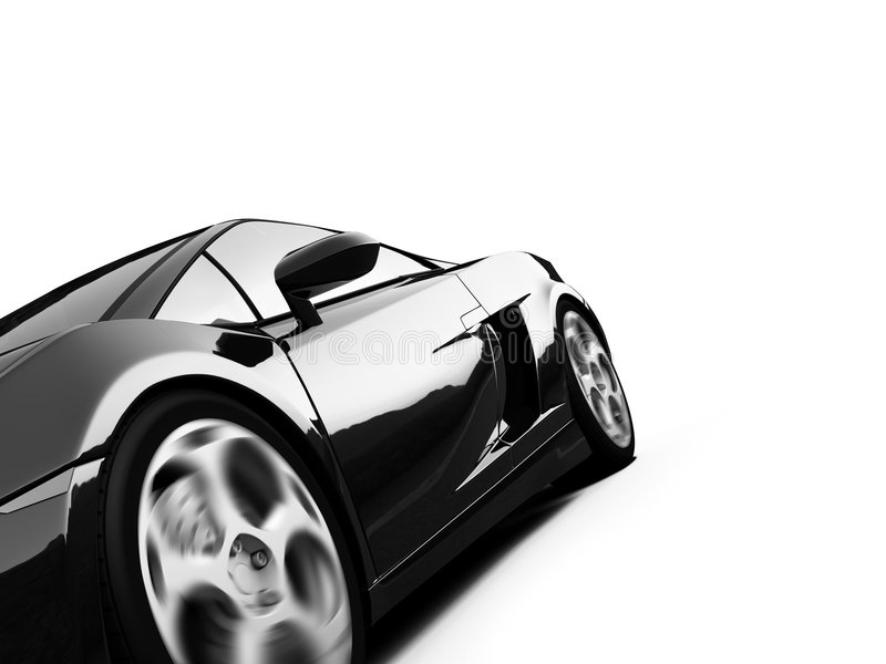 Isolated closeup sportcar view stock illustration