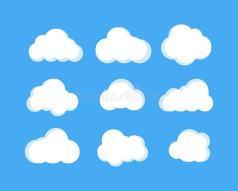Isolated clouds icons. cloud icons in trendy flat design on blue background vector illustration