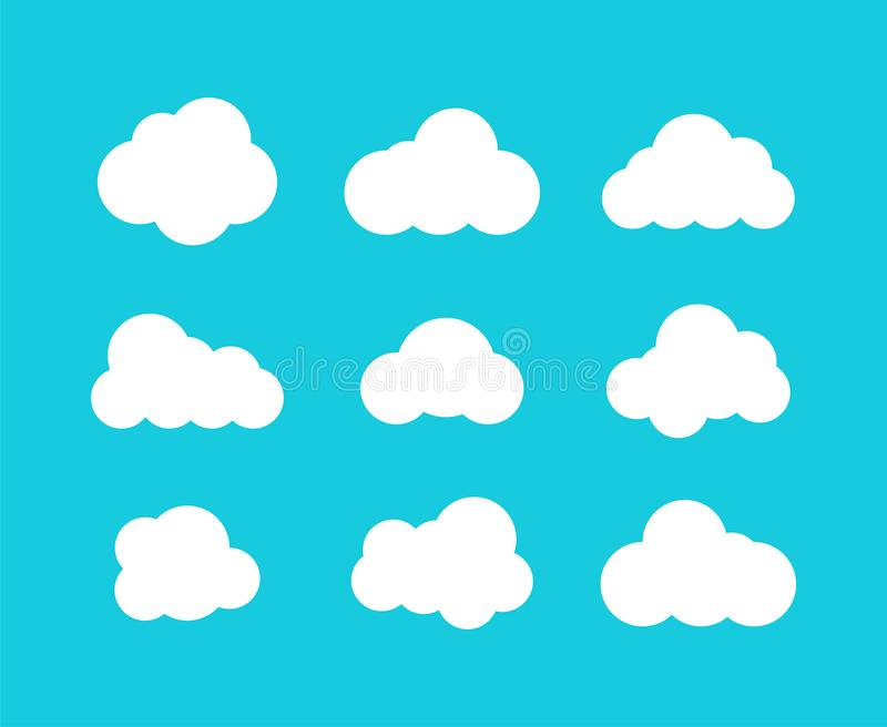 Isolated clouds icons. cloud icons in trendy flat design on blue background royalty free illustration