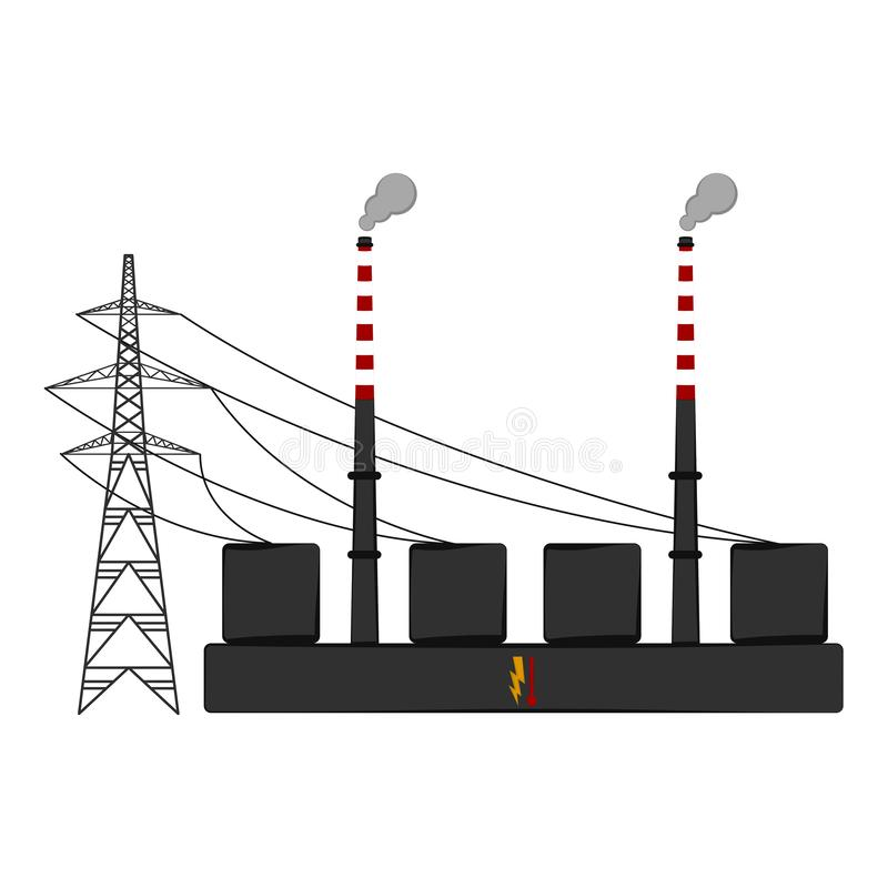 Isolated coal power plant stock vector. Illustration of ...