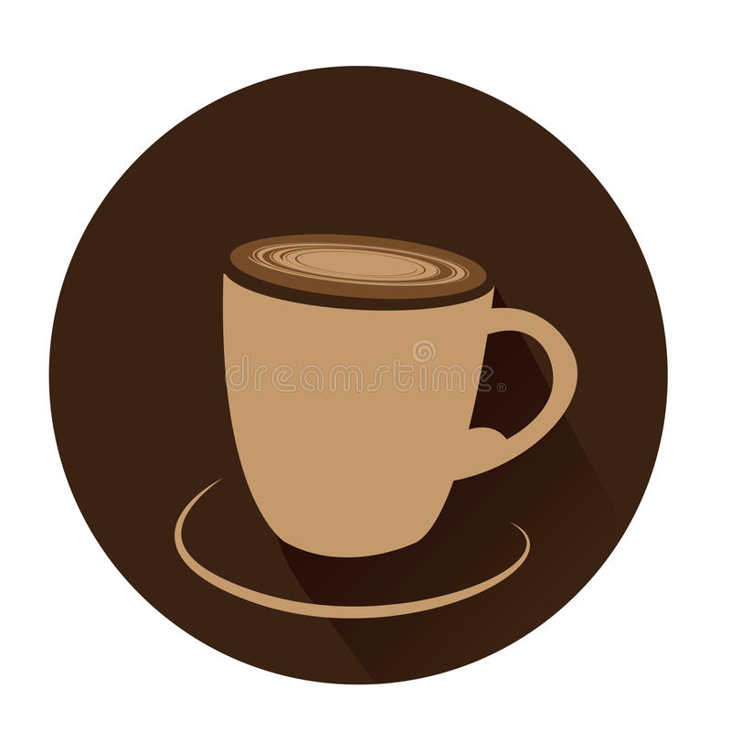 Isolated coffee cup. On a brown sticker, Vector illustration stock illustration