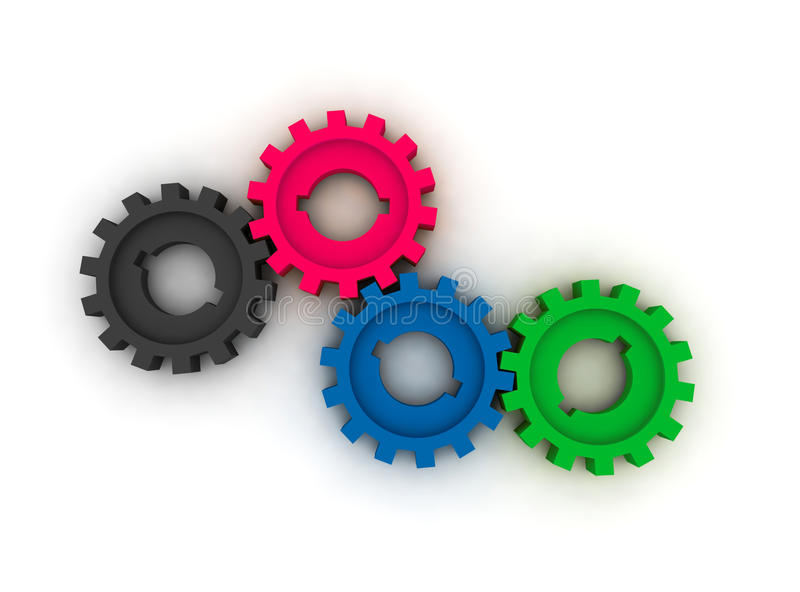 Isolated cogwheels royalty free stock photos