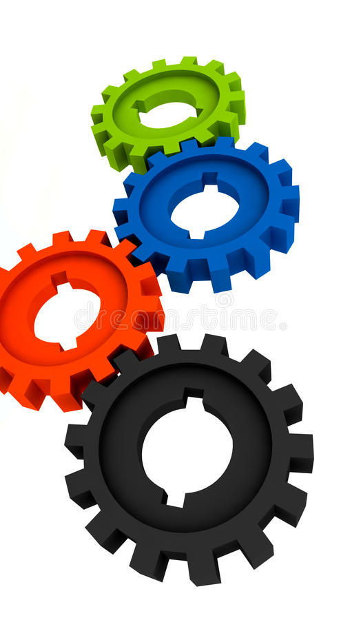 Isolated cogwheels royalty free stock images