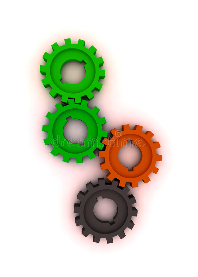 Isolated cogwheels royalty free stock image
