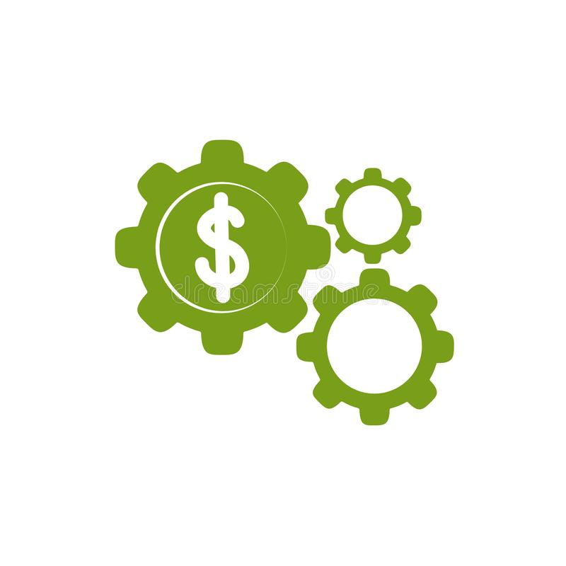 Free Isolated Coin And Gears Icon Green Silhouette Design Stock Photography - 163873972