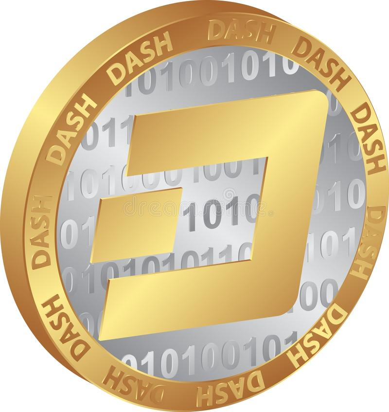 Dash. Isolated coin of cryptocurrency Dash royalty free illustration
