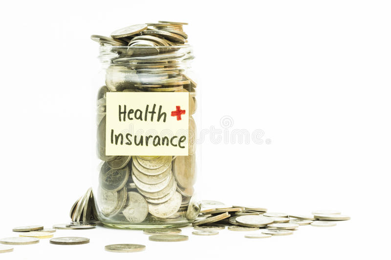 Download Isolated Coins In Jar With Health Insurance Label Stock Image - Image: 39343333