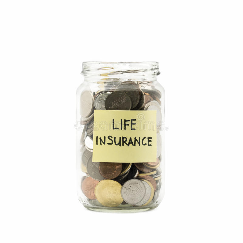Isolated coins in jar with life insurance label stock images