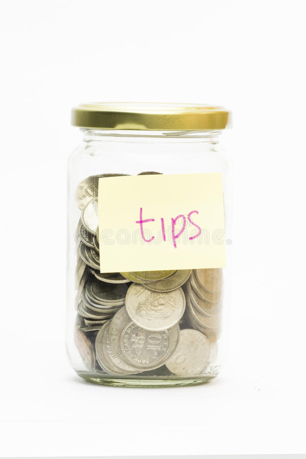 Download Isolated Coins In Jar With Tips Label Stock Photo - Image: 39343317