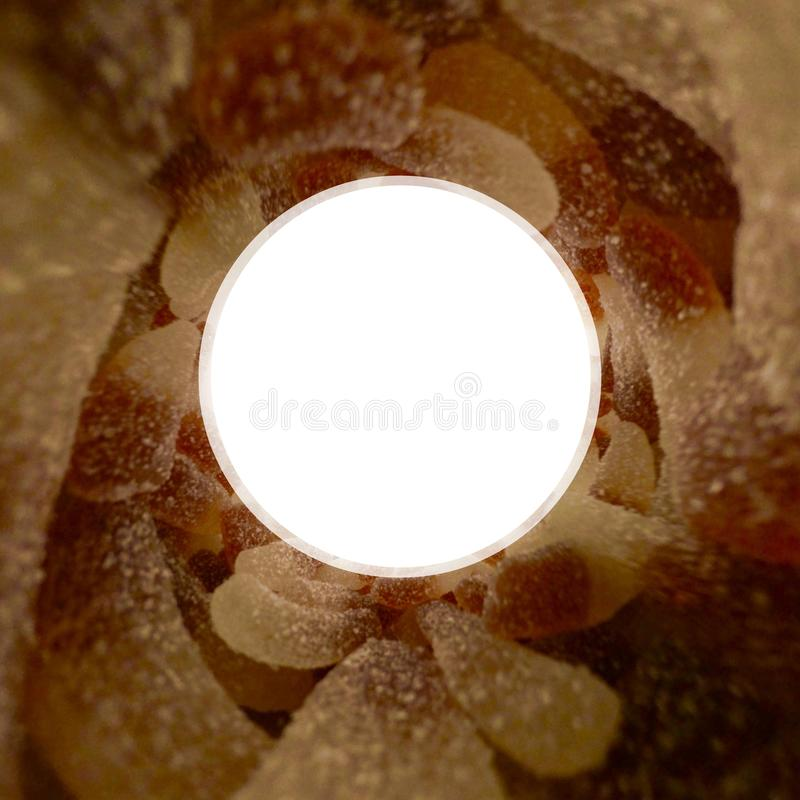 Isolated cola candies vortex 360. Isolated cola candies with sugar vortex 360 degrees royalty free stock images