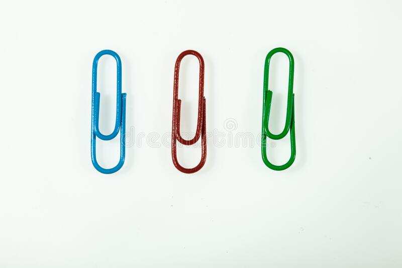 The isolated color paper clips stock photos