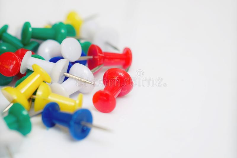 Isolated color push pin stock photos
