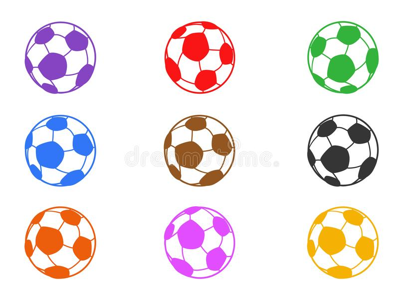 Color soccer ball icons set royalty free illustration