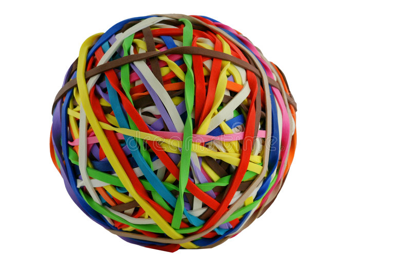 Isolated colored rubberband ball macro stock photography
