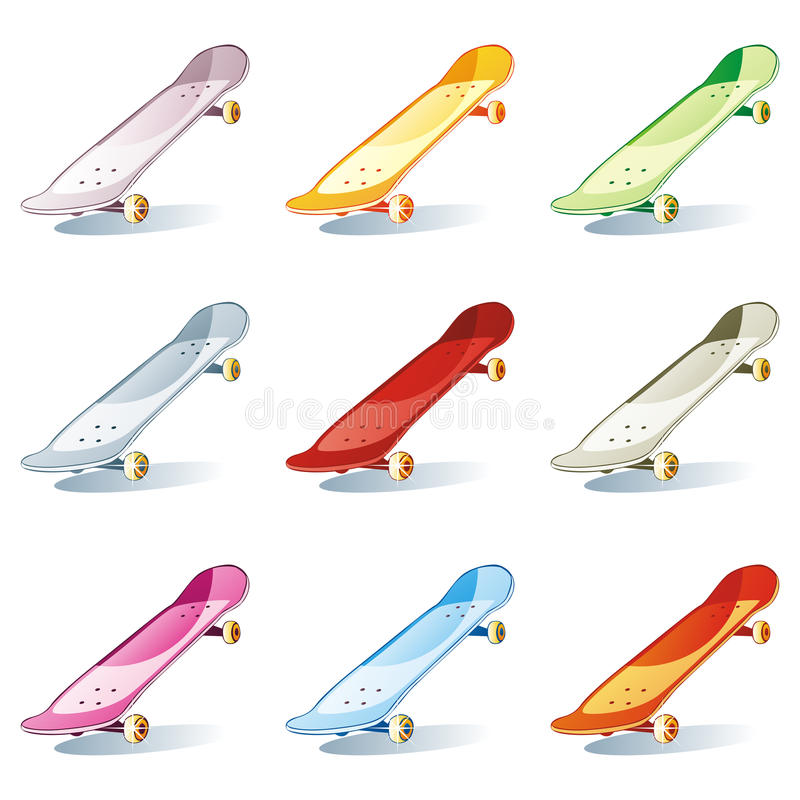 Isolated colored skateboard set stock illustration