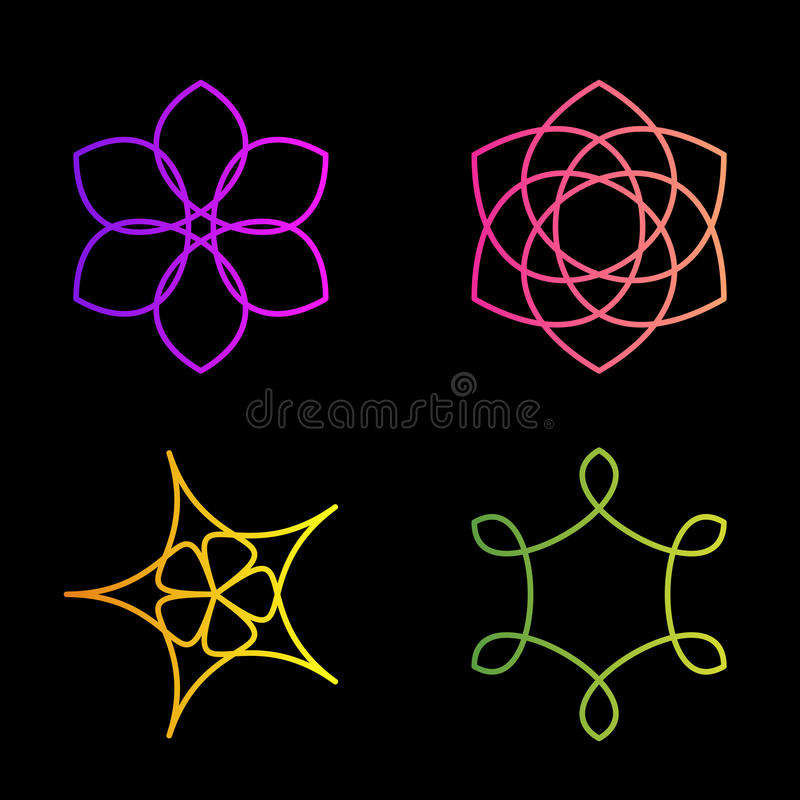 Isolated colorful abstract floral vector logo set. Flower images collection. vector illustration