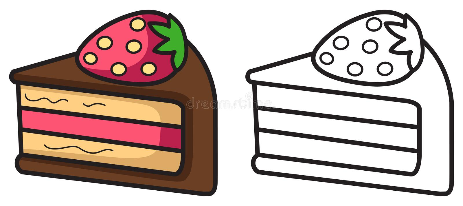Isolated colorful and black and white cupcake for coloring book vector illustration