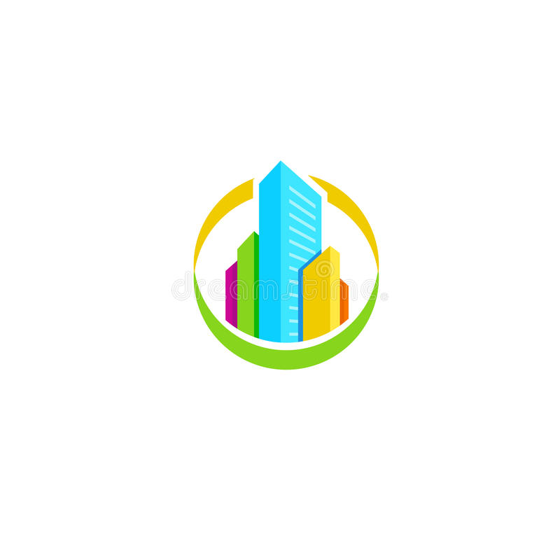 Isolated colorful real estate agency logo, house logotype on white, home concept icon, skyscrapers vector illustration. vector illustration
