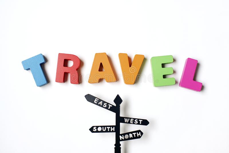Isolated Colorful Word ` TRAVEL ` Find Your Destination stock photography