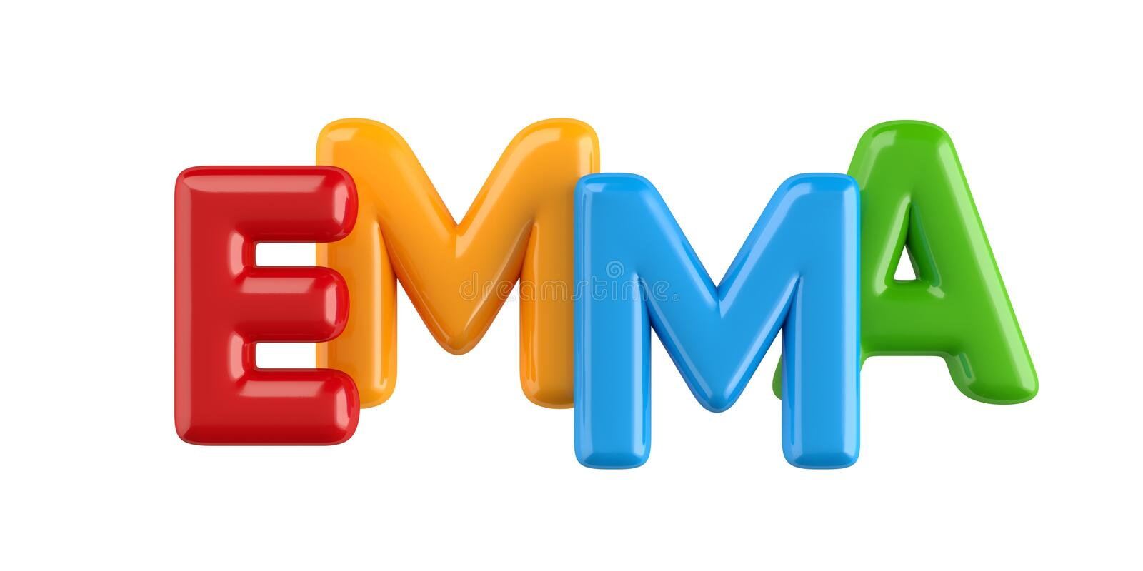 Isolated colorfull 3d Kid Name balloon font Emma vector illustration